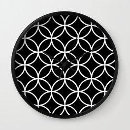 Interlinking Circles Pattern White on Black Wall Clock