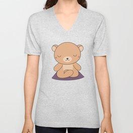 Kawaii Cute Yoga Bear Unisex V-Neck