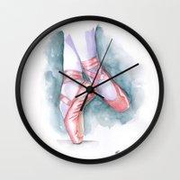 sneaker Wall Clocks featuring ballet sneaker by rchaem