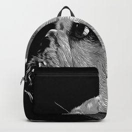 english bulldog dog vector art black white Backpack