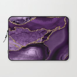 Glamour Purple Bohemian Watercolor Marble With Glitter Veins Laptop Sleeve