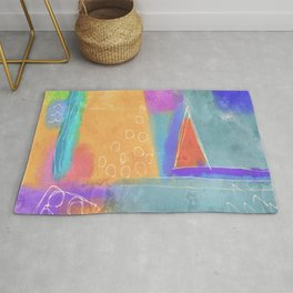Colorful Abstract Digital Painting Rug