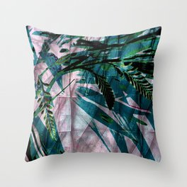 Crocosmia Shimmer in Pink Teal Green Throw Pillow