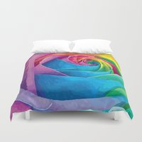 rose Duvet Covers featuring Rose  by Aloke Design