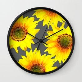 Large Sunflowers On Dark Grey Background #decor #society6 #buyart Wall Clock