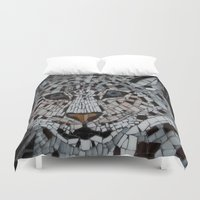 snow leopard Duvet Covers featuring Snow Leopard by ira gora