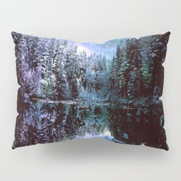 A Cold Winters Night : Violet Teal Green Winter Wonderland Pillow Sham
