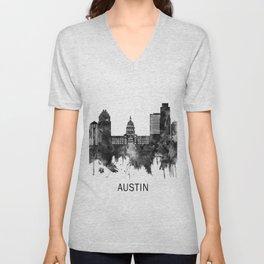 Austin Texas Skyline BW Unisex V-Neck