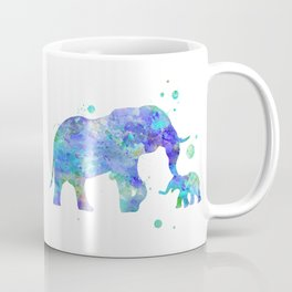 Blue Mom and Baby Elephant Watercolor Painting Coffee Mug