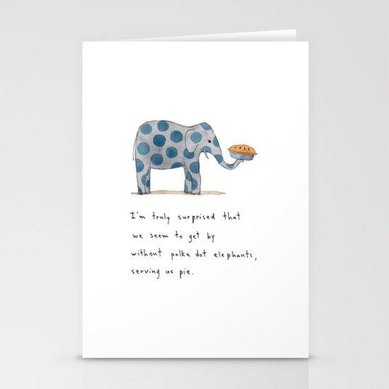 polka dot elephants serving us pie Stationery Cards