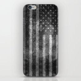 Black and White USA Flag in Grunge iPhone Skin