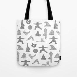 Grey Yoga Pattern Tote Bag