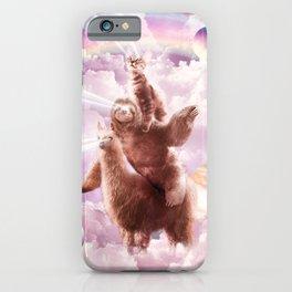 Laser Eyes Space Cat Riding Sloth, Llama - Rainbow iPhone Case