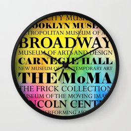 New York Arts - black text on color Wall Clock