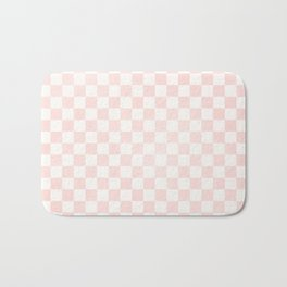 Pink Coral Checkers Bath Mat