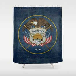 Utah State Flag, vintage retro style Shower Curtain