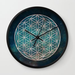Mandala Flower of Life Rose Gold Space Stars Wall Clock