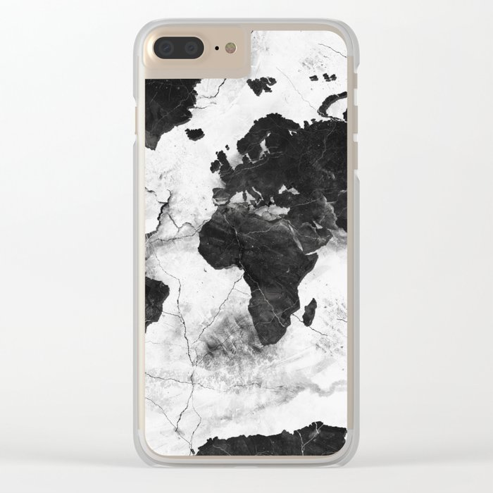 world map marble 3 Clear iPhone Case