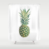 pineapple Shower Curtains featuring Pineapple by Cassia Beck