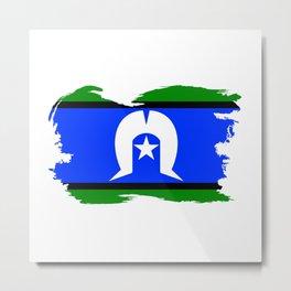 Torres Strait Islander Flag Border Grunge Metal Print