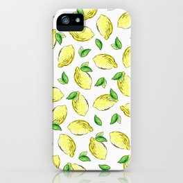 Lemon Watercolor Pattern iPhone Case