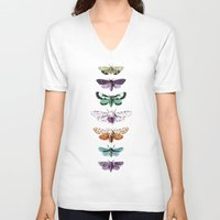 techno V-neck T-shirts featuring Techno-Moth Collection by Zeke Tucker