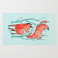 large Area & Throw Rugs featuring Winter Fox by Freeminds