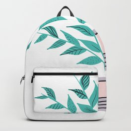 Modern house plant pastel turquoise leaves plant pot Backpack