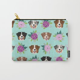 Australian Shepherd dog breed dog faces cute floral dog pattern Carry-All Pouch