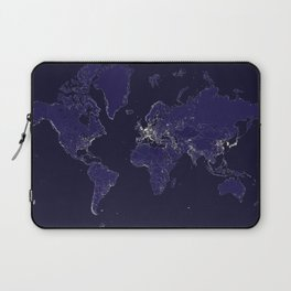 The world map at night with outlined countries Laptop Sleeve