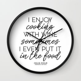 Cooking With Wine (Black) Wall Clock