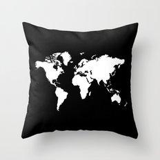 Black white world map Throw Pillow