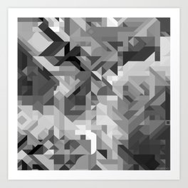 Black / White and Gray Scale Geometric Geometry Shape Pattern Art Print
