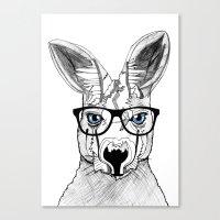 kangaroo Canvas Prints featuring kangaroo by  Steve Wade ( Swade)