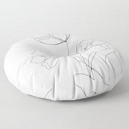 Poppies Minimal Line Art Floor Pillow