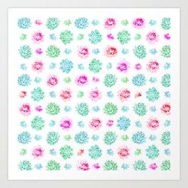 Blush pink teal modern trendy summer cactus floral Art Print