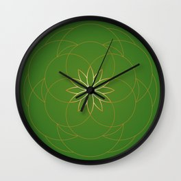 Minimalist Sacred Geometric Succulent Flower in Gold and Emerald Green  Wall Clock