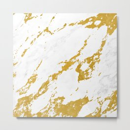 Elegant Marble style 6 - Gold and White Metal Print
