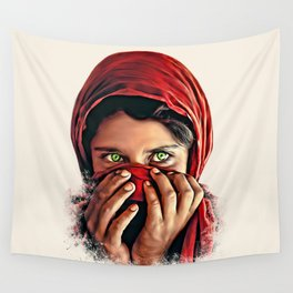 Afghan Girl with Beautiful Eyes Wall Tapestry