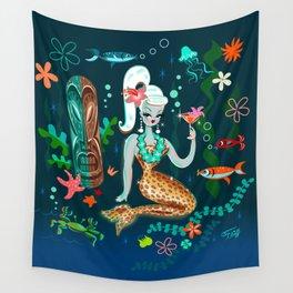 Blonde Leopard Martini Mermaid Wall Tapestry