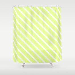 Lemongrass Diagonal Stripes Shower Curtain