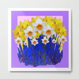 DECORATIVE YELLOW & WHITE DAFFODILS PURPLE BLUE ART Metal Print