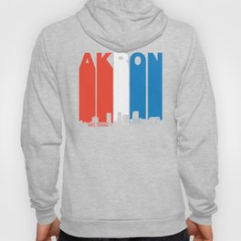 Red White And Blue Akron Ohio Skyline Hoody