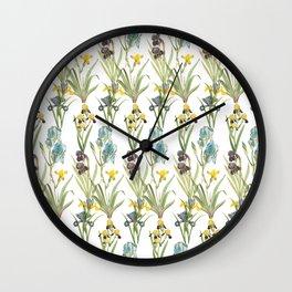 Irises 1 | Iris Flowers | Vintage Floral Pattern | Flower Patterns | Wall Clock