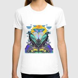 SURREAL BIRDS, BLUE BUTTERFLIES & GOLDEN MOON T-shirt