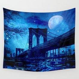 Full Moon Over Brooklyn Bridge Wall Tapestry