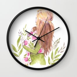 Motherhood watercolor Wall Clock