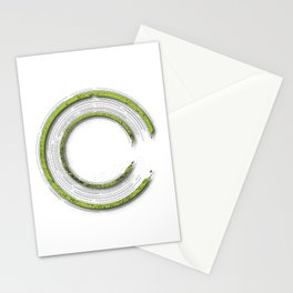 Apple green abstract enso circle with mystical out of space look Stationery Cards