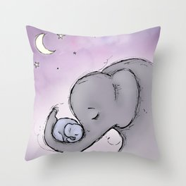 Goodnight Elephants Throw Pillow