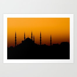 Beautiful silhouette of a mosque at sunset Art Print